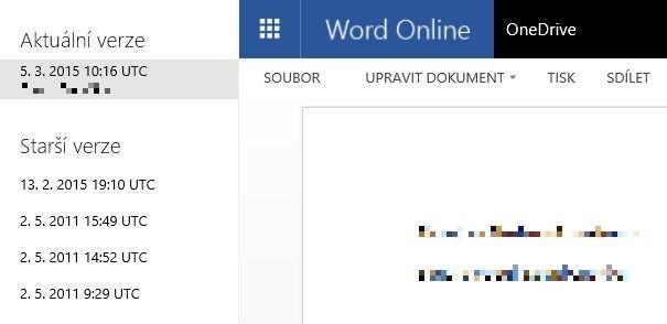 Rozhraní pro zobrazení historie verzí cloudové služby OneDrive