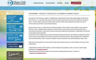 K údajům o kartách Diners Club se dostaly nepovolané osoby. (18. 9. 2020)