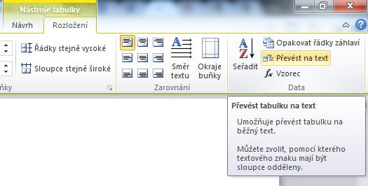 MS Word 2010 - tabulka
