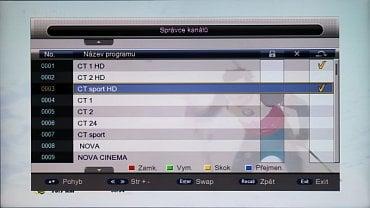 Správce kanálů dovoluje setřídění i přejmenování stanic.