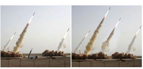 """I tuhle manipulaci odhalil VerifEyed: fotografie odpálení iránských raket. Který je ta pravá? <a href=""""http://www.novinky.cz/zahranicni/blizky-a-stredni-vychod/144736-iran-upravil-snimek-odpalenych-raket-pridal-tu-co-nevzletla.html"""">Odpověď</a>."""
