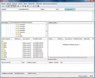 <p>Program FileZilla po spuštění - klasický vzhled souborového manažera s několika doplňky</p>