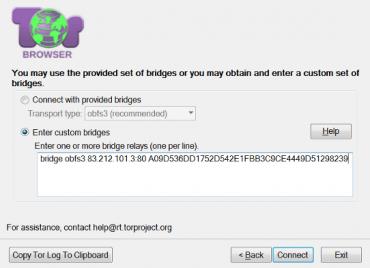Ruční přidání mostu do konfigurace Toru