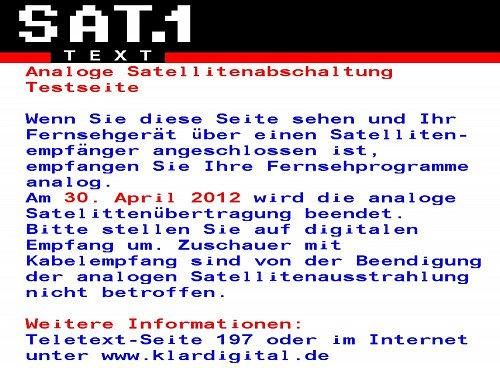 Takto bude vypadat teletextová strana 198 u programu Sat.1 v případě, že satelitní televizi přijímáte analogově.