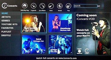 Widget populární a dlužno říci že i špičkové hudební stanice iConcerts na televizoru Gogen TVL 42248 Web.