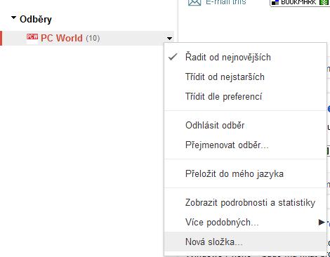 google reader - nova slozka