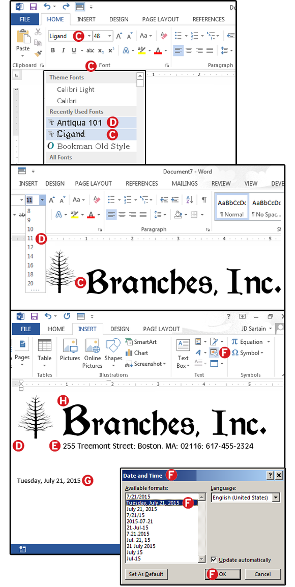 Pokračování záznamu makra pro vytvoření firemní hlavičku dopisu.