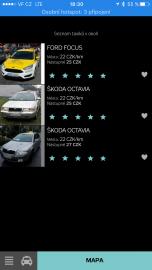 Aplikace HopIN zobrazí dostupná auta a můžete si objednat konkrétní vůz. Ukázka v Ostravě.