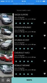 Aplikace HopIN zobrazí dostupná auta a můžete si objednat konkrétní vůz. Ukázka v Kyjevě.