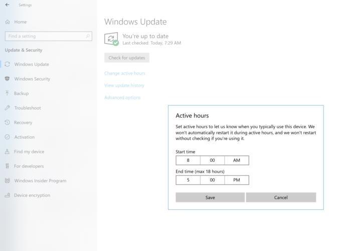Doba aktivního používání je jedním z aktivních prostředků v boji proti neočekávaným aktualizacím Windows. Ujistěte se, že máte tuto volbu zapnutou a že máte dobu aktivního používání nastavenu na časové rozmezí, v němž počítač používáte.