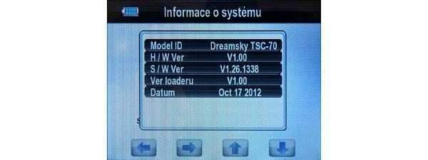 V Menu si můžete zkontrolovat informaci o verzi hardware, software a loadreu přístroje s datem poslední aktualizace.