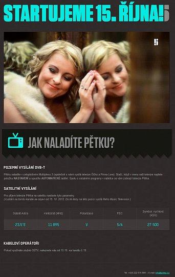 Webové stránky televize Pětka