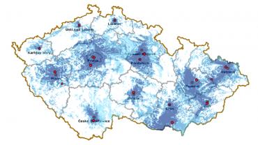 Orientační pokrytí Regionální sítě 8