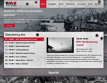 Webové stránky nového kanálu WAR TV.