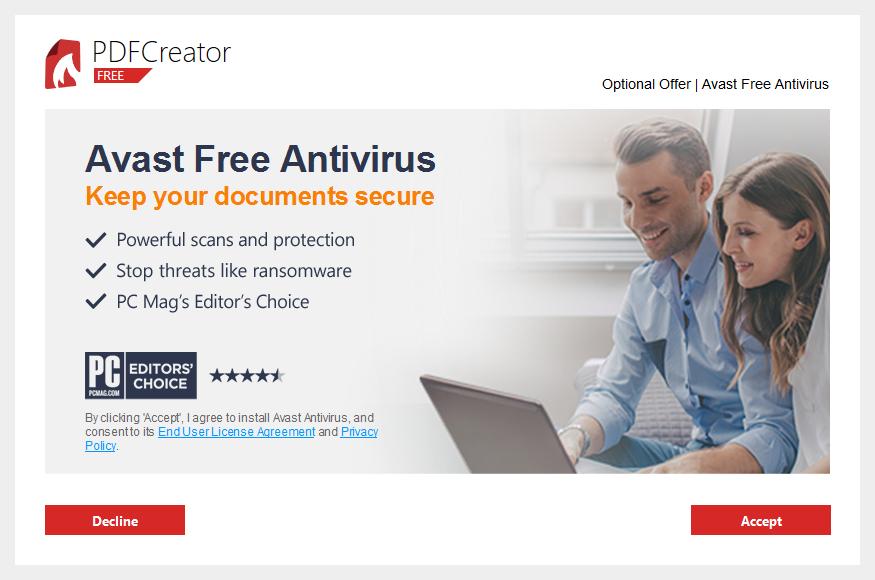 PDFCreator - nabídka Avast