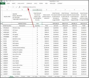 Vložení vzorců a jejich výpočet na listu Master. Hodnoty pro výpočet se nachází na více listech.