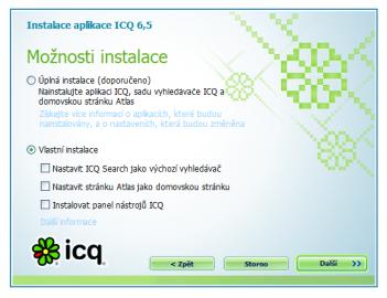 Při instalaci je možné vybrat, co se má a co nemá instalovat.