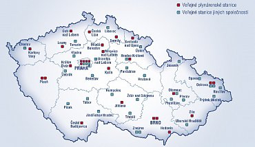 Mapa CNG stanic v ČR platná ke 4. zárí 2014