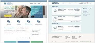Ukázka podoby nového webu a internetového bankovnictví (čísla a údaje jsou informativní)
