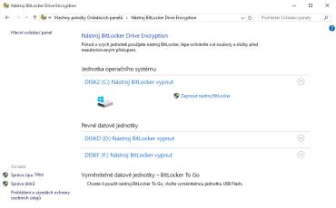 BitLocker není a nebyl aktivní. Přesto existuje recovery key