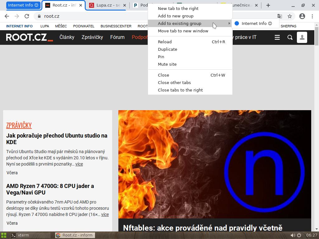 Seskupování panelů vprohlížeči Chrome