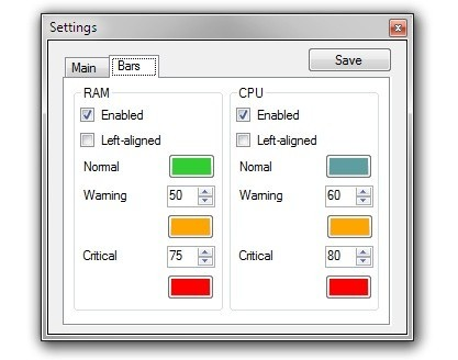 RAM CPU Taskbar je konfigurovatelný nástroj, který zobrazuje informace o vytížení HW na Hlavním panelu