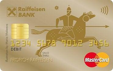 Zlatá debetní karta MasterCard od Raiffeisenbank pro soukromé osoby.