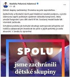 Reakce poslankyně Pekarové na schválení předlohy