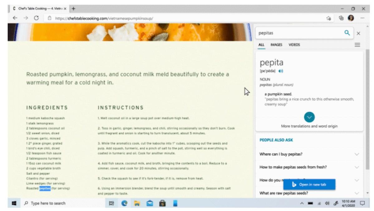 Vyhledávání na bočním panelu v internetovém prohlížeči Microsoft Edge