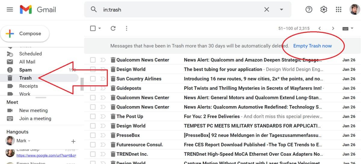 Pomocí tohoto tlačítka je možné libovolný e-mail, který se nachází ve složce Koš. Ale pozor – jakmile e-mail odtud odstraníte, je pryč navždy!