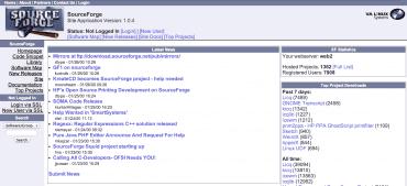 Historická podoba SourceForge