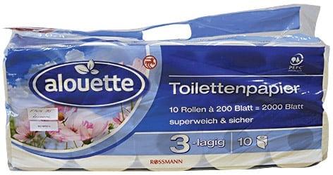 Vítěz testu časopisu dTest - Rossmann/Alouette Toilettenpapier