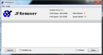 JFRemover si poradí s dočasnými soubory na disku a zvýší tak volné místo