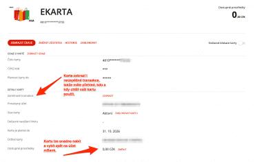 eKarta se chová jako předplacená platební karta k účtu mBank. (13. 10. 2021)