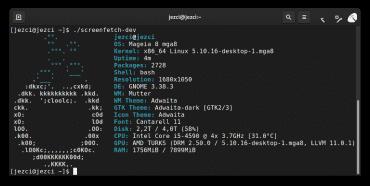 Screenfetch na Mageia 8 / GNOME