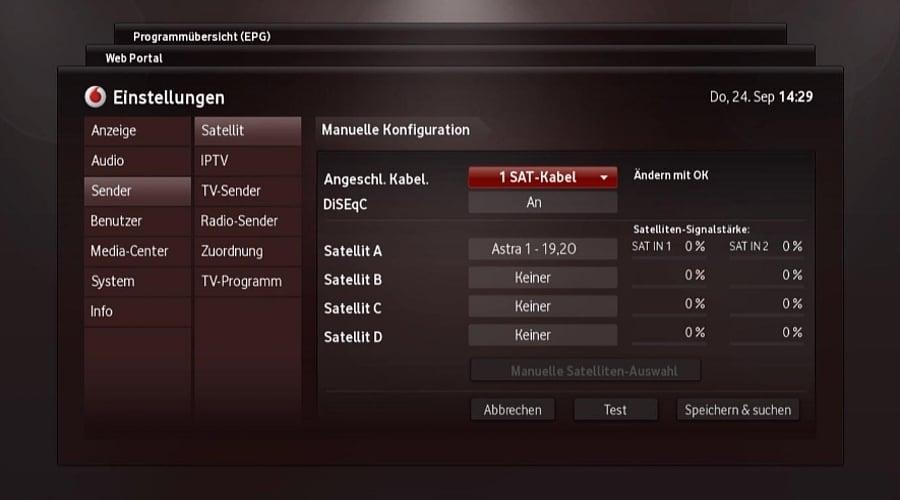 Nastavení – satelitní vyhledávání, aktivace SKY, aktualizace IPT