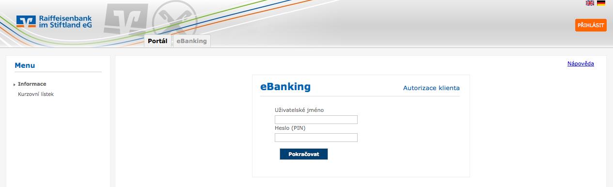 Raiffeisenbank im Stiftland. Internetové bankovnictví
