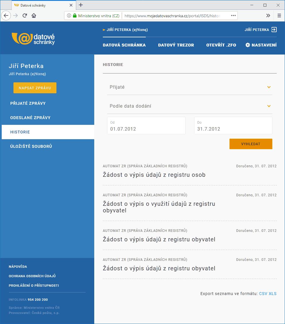 Ověření ID datovací stránky