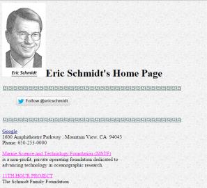 Eric Schmidt má hezkou domovskou stránku. K nalezení na ericschmidt.com