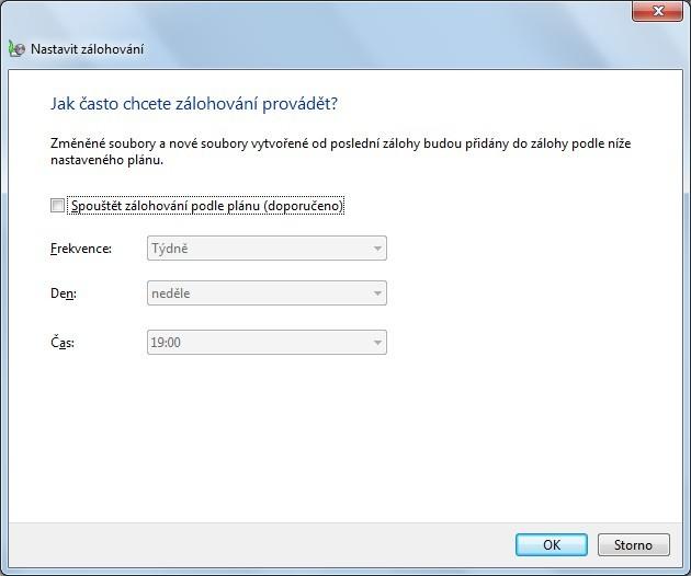 Záloha ve Windows 7