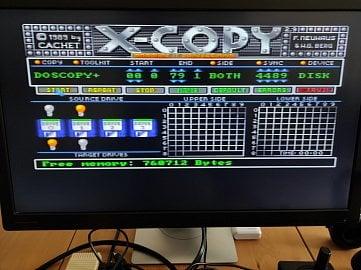 Program X-Copy (zde ve verzi 2.9 PRO) připravený pro kopírování obrazu diskety s programem pro Amigu z externí floppy (GoTek) na interní.