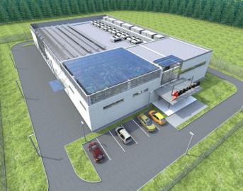 Vizualizace nového datacentra, které už roste v Horních Počernicích