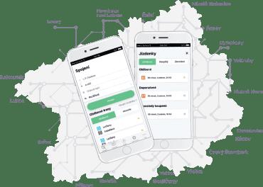 Vzhled mobilní aplikace PID Lítačka