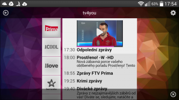 Mobilní aplikace TV4You pro Android