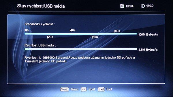 Přijímač otestuje vaše externí USB úložiště a doporučí jeho použití. I když v tomto případě doporučil nahrávky pouze 1 x SD a 1 x TimeShift, bez problému nahrál jeden program v HD rozlišení, ale bez zapnuté funkce Timeshift.
