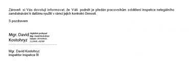 Vyjádření Státního úřadu inspekce práce.