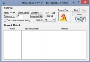 Program IntelBurnTest, který je neoficiální verzí skutečně krutého benchmarkového programu Linpack, se může pochlubit zejména přívětivým rozhraním
