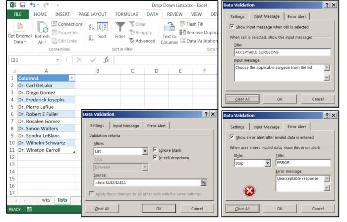 Pro svůj rozevírací seznam postupně zadejte zdroj, zprávu při zadávání a chybové hlášení.