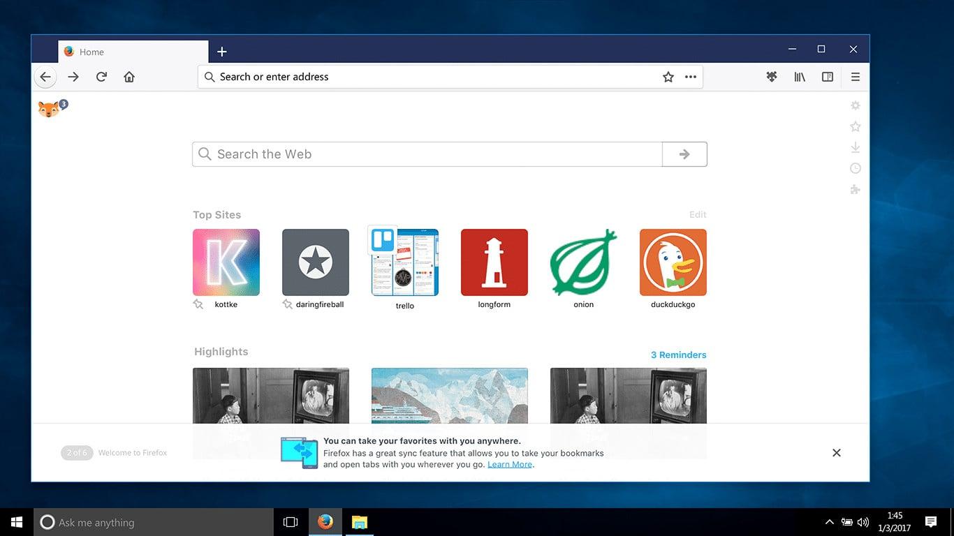 Firefox Photon: domovská stránka