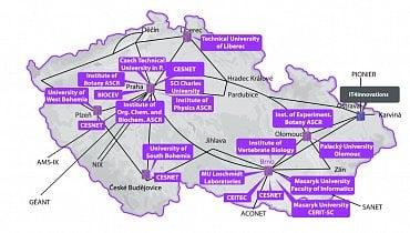 Mapa akademických výpočetních zdrojů v rámci MetaCentra
